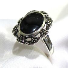 925 STERLING SILVER MARCASITE ONYX  RING SIZE 10