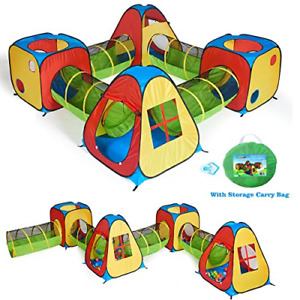UTEX 8 in 1 Pop Up Children Play Tent House with 4 Tunnel, 4 Tents for Boys, and