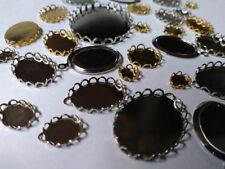 10  Silver Lace Edge Bezel Cup Cabochon Tray Settings 40mm x 30mm