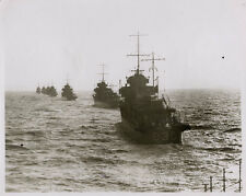 1930's PRESS PHOTOGRAPH DESTROYERS IN PROCESSION BRITISH NAVY