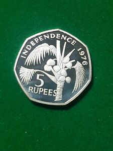 Seychelles 1976  5 Rupees   silver