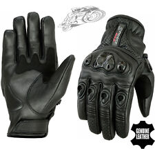 MENS CARBON SHELL KNUCKLE VENTED PERFORATED MOTORBIKE MOTORCYCLE LEATHER GLOVES
