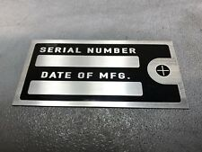 "Engine Build Machine Equipment Plate Tag Serial Date Quality Black Chrome 4""X2"""