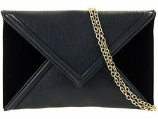 NAVY BLUE LEATHER SUEDE LADIES PARTY EVENING CLUTCH HAND BAG HANDBAG
