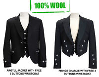 100% WOOL Scottish Argyle Kilt Jacket/ Prince Charlie Jacket-WITH FREE WAISTCOAT