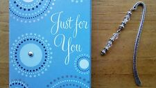2 Clear Beaded Metal Bookmarks + Card ~ Makes a nice gift!