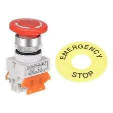 22mm Latching Emergency Stop Push Button Switch W 60mm Emergency Stop Sign 2nc