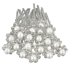 20Pcs Wedding Bridal Pearl Flower Crystal Hair Pins Clips Bridesmaid (Silve G9X7