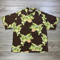 Tommy Bahama Aloha Hawaiian Floral Button Down Brown Silk Shirt Men's Size XL