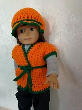 "Handmade doll clothes for 18"" American Girl Doll sleeveless crochet sweater"