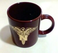 Vintage Coffee Cup Mug Red Brown Gold Tone Etched Medical Symbol N (Nurse)