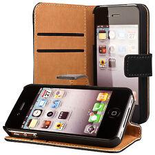 Apple iPhone 4 4S portafoglio custodia protettiva nero wallet case cover