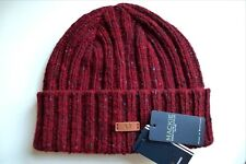 FRED PERRY WOOL Ox Blood Fleck Donegal RIB BEANIE HAT Toque Mackie MADE SCOTLAND
