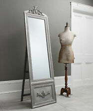 Belvedere Silver Shabby Chic Free Standing Cheval Long Floor Mirror - 192x52cm