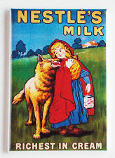 Little Red Riding Hood Milk FRIDGE MAGNET (2.5 x 3.5 inches) big bad wolf sign