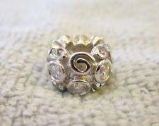 Sterling Silver European Bead-Made w/ Clear Swarovski Crystals Charm-LAST ONE!