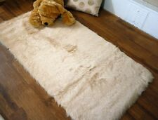 Beige Faux Fur Sheepskin Style Oblong Rug 70 x 140cm Washable