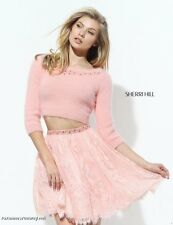 Sherri Hill 50549 Blush Pink Sweater Lace Skirt Crop Top Cocktail Dress sz 8