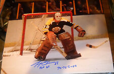 GERRY CHEEVERS AUTOGRAPH SIGNED 16X20 PHOTO BRUINS COA STAND IN CREASE 70-72 CUP