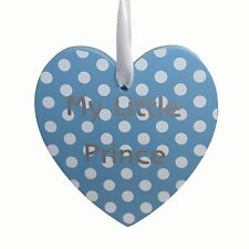 My little prince - blue with white polka dot hanging heart plaque