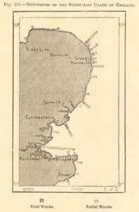 South-east coast of England shipwrecks. East Anglia Thames Kent. Sketch map 1886