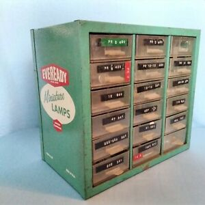 Vintage EVEREADY MINIATURE LAMPS DISPLAY CASE FULL OF BULBS 18 DRAWERS 1950s