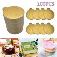 100pcs Gold Runde Mousse Kuchen Geschirr Bretter Tablett Hochzeitsdekor