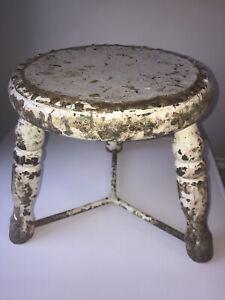 Antique Milking Stool In Original Paint