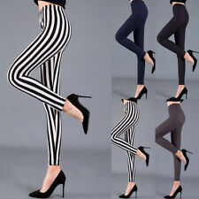 Mujer Rayas Cintura Alta Elástico Pantalones Yoga Leggings Gimnasio SPORTS Para