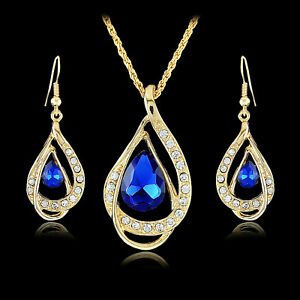 Gold Plated Teardrop Blue Crystal And Rhinestones Necklace & Earrings Set