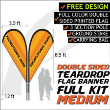 12FT Full Color Teardrop Style Double Sided Custom Flag Banners w/Hardware