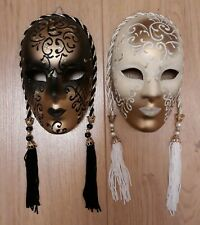 Pair of Gold Colour Dark And Light Masks Wall Decoration
