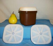 Tupperware BROWN Mini Ice Bucket canister ~2 wedge ice cube trays ~Dorm RV Bar
