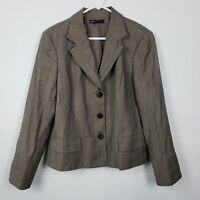 Lafayette 148 New York WOmens Blazer Jacket Size 14 Brown Wool Button Down Work