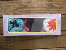 3 Pairs Funny Donut Colorful Cotton Socks with Birthday Gift Box Shoe Size 6-10