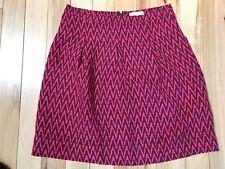 Ann Taylor LOFT Raspberry & Maroon ZIGZAG Pattern Rayon/Linen Skirt Sz 4 Women