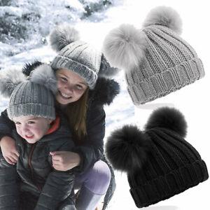 kids pom pom hats Winter Bobble Beanie Warm Girls Boys Double Knit Faux Fur
