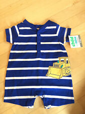 NEW Boy Clothes Carters Blue Blue Buldozer Tractor Shirt Romper 0 3 Month