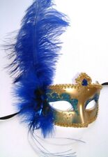 MASQUERADE HALLOWEEN HEN PARTY BLUE & GOLD MASK WITH BLUE OSTRICH FEATHER NEW