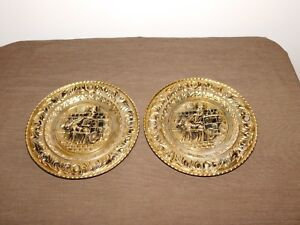 """VINTAGE 2 ENGLAND 9 1/4"""" ACROSS STAGE COACH DRIVER HORSES BRASS WALL PLAQUES"""