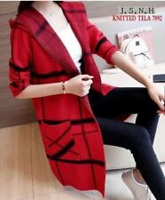 LADIES LONG CARDIGAN KNITTED (RED)