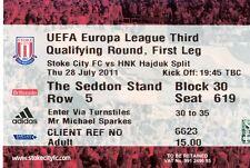 Stoke City v HNK Hajduk Split Used Ticket From 28-07-2011 - UEFA Cup Match