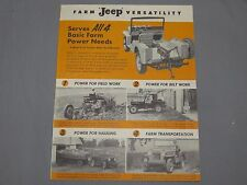 original 1950's JEEP Farm Power Tractor Brochure RARE Willys Kaiser