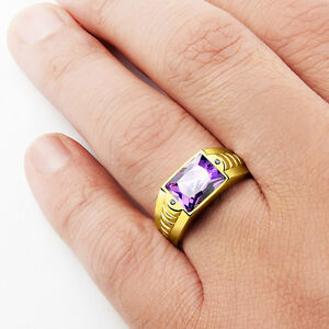 10K YELLOW GOLD Mens Ring Purple Amethyst Gemstone and DIAMOND Accents all sizes