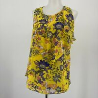 Anthropologie HD in Paris Top Sungarden Yellow Floral Blouse Sleeveless Size 4
