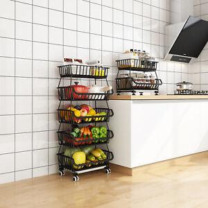 DE Küchenregal Stapelbar 3/4/5 Tier Obst Gemüsekorb mit Rädern