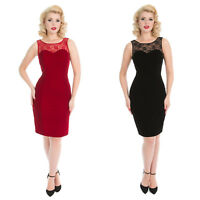 Womens Velvet Lace 1950s Vintage Retro Fitted Pencil Party Evening Dress