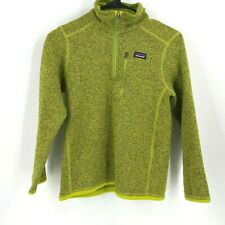 PATAGONIA - BOYS SIZE MEDIUM (10) - GREEN 1/4 ZIP PULLOVER BETTER SWEATER