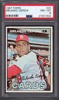 1967 Orlando Cepeda Topps Baseball Card #20 Graded PSA 8 NM-MT (Near-Mint-Mint)