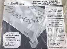 """Vtg Bucilla 8554 Golden Thistle Tablecloth 52"""" x 52"""" Stamped for Embroidery New"""
